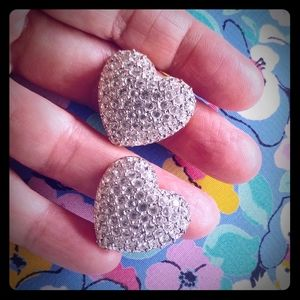 Swarovski Crystal Heart Clip Earrings